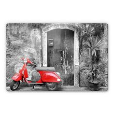 Red Scooter - Black&White Glass art