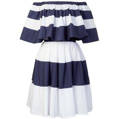storets Nea Stripe Off-the-Shoulder Dress (215 BRL) ❤ liked on Polyvore featuring dresses, blue dress, stripe dress, cotton dress, blue off shoulder dress and blue off the shoulder dress