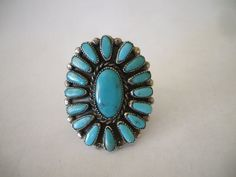 Bold and Beautiful Vintage NAVAJO Sterling Silver & Turquoise Cluster RING, size 13.  TurquoiseKachina, $143.10