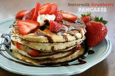 Homemade Buttermilk Strawberry Pancakes Drizzled In Chocolate