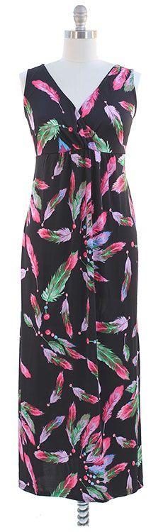 Black feather print maxi dress $18.00