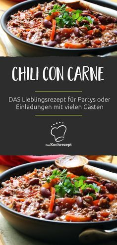 This chili con carne is THE favorite recipe for parties or invitations with many guests. So nice and spicy – it can quickly happen that the big pot is empty. It is best to cook a double portion of chili right away! Pizza Und Pasta, Party Finger Foods, Beef Stroganoff, Food Lists, Bon Appetit, Spicy, Curry, Brunch, Food And Drink