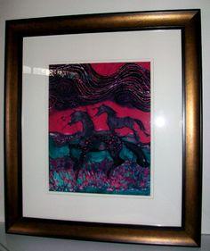 Painted Horses Below the Wind    Original batik by amityfarmbatik