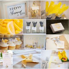 Gorgeous yellow and gray wedding.  So many cute details!
