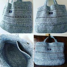 オーダーバッグ完成 44×32×18のビッグサイズです。 #スズランテープ#バッグ#ビニール紐 #メタリックバッグ#かぎ針編み #編み物#knitting #crotchet #bag#海#かぎ針