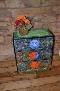Sun and Moon painted chest of Drawers  by NirgunaFurnishings, £209.99
