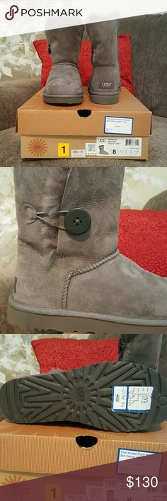 UGG with Bailey Button UGG with Bailey Button boots in color grey. Brand new with tag still attached to the bottom. Never worn. UGG Shoes
