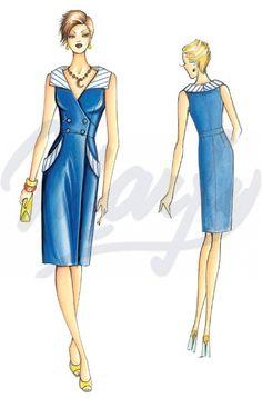 The Marfy hand made pre-cut sewing pattern :: Sewing Pattern 3650 - Fashion Illustration Template, Dress Illustration, Corsage, Dress Patterns, Sewing Patterns, Sleeveless Coat, Bodice Pattern, Sewing Shirts, Edwardian Dress