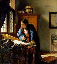 The Geographer by Johannes Vermeer.Johannes, Jan or Johan Vermeer (/vərˈmɪər/;[3] Dutch: [joːˈɦɑnəs jɑn vərˈmeːr]; 1632 – December 1675) was a Dutch painter who specialized in domestic interior scenes of middle-class life - Wikipedia, the free encyclopedia