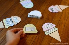 """""""Ice Cream Intervals"""" is a fun game to help piano students improve their recognition of various intervals between notes on the staff. Sort the cards in advance to customize the game for certain levels and learn two different ways to play the game!"""