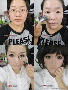 This is mind blowingly creepy. Remember ladies: Makeup is supposed to HIGHLIGHT you,, not HIDE you! gross.