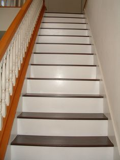 Installing Laminate Flooring on Stairs, diy stairs - they need to stain their railling Laminate Flooring On Stairs, Installing Laminate Flooring, Wood Stairs, Wood Laminate, Vinyl Flooring, Hardwood Floors, Flooring Ideas, Basement Stairs, Flooring Options
