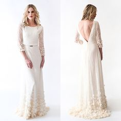 Lace Boho Wedding Dress with Sleeves Open Back and BEAUTIFUL skirt detailing by AnyaDionne on Etsy https://www.etsy.com/listing/183360929/lace-boho-wedding-dress-with-sleeves