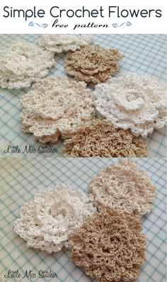 Little Miss Stitcher: Simple Crochet Fleur Motif gratuit Crochet Metal, Thread Crochet, Knit Or Crochet, Crochet Crafts, Crochet Stitches, Crochet Projects, Crochet Patterns, Simple Crochet, Crochet Appliques