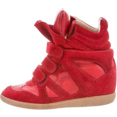 Isabel Marant Beckett Wedges Sneakers ($325) ❤ liked on Polyvore featuring shoes, sneakers, red, hidden wedge sneakers, red wedge sneakers, isabel marant sneakers, red leather shoes and wedge trainers