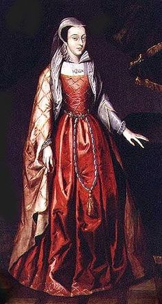 "Legend says that when she was brought to her execution, Mary Stuart removed her black coat to reveal the crimson dress she wore.  She supposedly said, ""At least the blood will not show."""