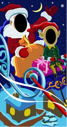 Santa's Sleigh Ride Photo Board for hire and purchase.  Create great photo memories for your store campaign.