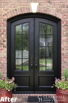 Customize your front or patio entrance with a Clark Hall exterior door. From modern to traditional, our custom made iron doors transform the design of any home. Check out our inspiration page for before and after photos and ideas. House Front Door, Custom Front Doors, Front Doors With Windows, Iron Doors Modern, House Front, Front Door Makeover, Entrance Door Design, Old Stone Houses, Replacing Front Door