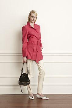 1) Pale Geranium Felted Wool Belted Walker 2) Wheat Sretch Cotton Jackie Pant 3) Black Suede Max Bucket Bag #worthnewyork #fall2014 #bucketbag