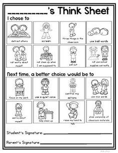 Mom Discover Visual Think Sheet and Behavior Management Visual Think Sheet- Behavior Reflection Behavior Goals, Classroom Behavior Management, Student Behavior, Positive Behavior, Behavior Sheet, Class Management, Classroom Rewards, Behaviour Management, Kids Behavior