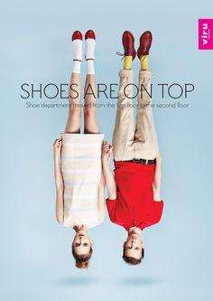 """エストニアの首都タリンで制作された、コピーアイデアの面白いプリント広告をご紹介。  Viru Keskusという名のファッション複合ビルが店内のレイアウト変更をしたことを告知するために制作したクリエイティブです。  コピーをベースとした広告のヘッドラインは、""""Shoes are ... エストニアの首都タリンで制作された、コピーアイデアの面白いプリント広告をご紹介。  Viru Keskusという名のファッション複合ビルが店内のレイアウト変更をしたことを告知するために制作したクリエイティブです。  コピーをベースとした広告のヘッドラインは、""""Shoes are on top. Shoe department moved from the first floor to the second floor.(シューズがトップに。シューズ売り場が1階から2階に移りました)""""。"""
