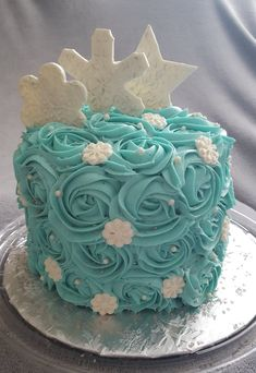 Frozen Rosette Cake With Candy Snowflakes Peaches And Creme Bakery Atlanta GA