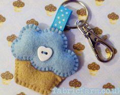 Blueberry Cupcake Felt Keyring or Brooch