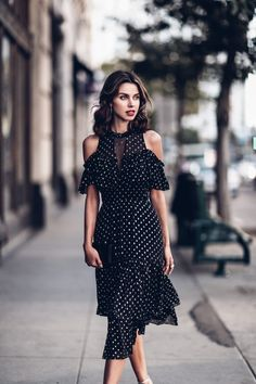 Polka dot chiffon open shoulder dress