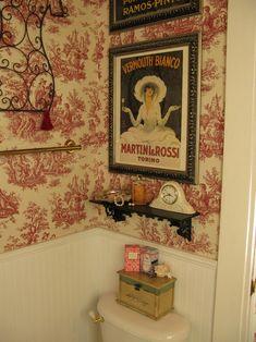 Cute Powder Room, & I love the vintage Martini & Rossi print!