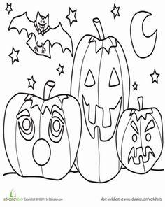 Halloween Preschool Holiday Worksheets: Color the Jack-'o-Lantern Scene