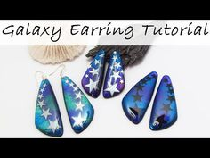 Pearl Ex, Galaxy Jewelry, Polymer Clay Projects, Sculpey Clay, Metal Clay Jewelry, Precious Metal Clay, Earring Tutorial, Clay Tutorials, Star Earrings