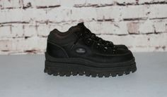 online retailer 9167a dd5fb Chunky Ankle Boots Black Leather Sneakers US 7 Sketchers Maga Platform  Grunge Punk Hipster Gothic Pastel NU Goth Festival Shoes Lace Up