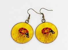 E28 Exclusive Unique High Fashion Bright Yellow Flower Red Ladybug Photo Print Epoxy Resine Earrings Handmade Jewelry Summer Gift for women Pattern design dangle casual earrings -- You can get additional details at the image link.Note:It is affiliate link to Amazon.
