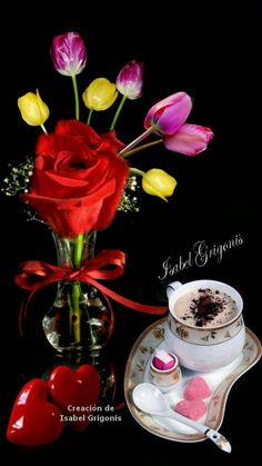 Good Morning Roses, Good Morning Good Night, Happy Weekend Images, Love You Gif, Floral Arrangements, Valentines Day, Table Decorations, Mornings, Album