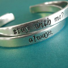 "Hunger Games Bracelets - ""Stay with me?"" ""Always."" <3"