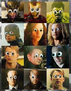 Every one looks cool with goggly eyes, even the Avengers! Marvel Memes, Marvel Dc Comics, Marvel Gif, Loki, Thor, Hulk, Bae, Alice, The Avengers