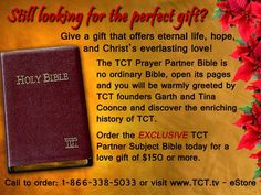 Still looking for the #perfect #gift for someone you #love? Look no further! The #TCT #Partner #Subject #Bible is just the thing to give someone who means the #world to you. #Order #online on our #eStore at www.TCT.tv or call us at 1-866-338-5033 today!