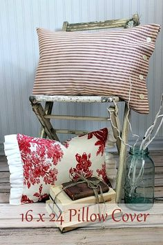 On Sutton Place: Red Ticking and Vintage Red Toile