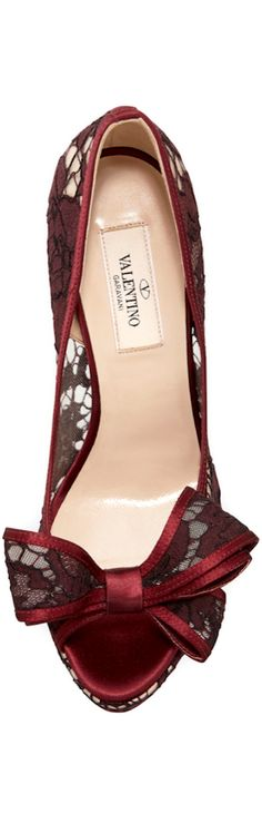 Valentino | Lace Bow Peep-Toe Platform Pump
