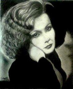 Graphite portrait of Greta Garbo by Talya Dunleavy