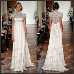 Jewel Short Sleeve Crystals Evening Gown Rhinestone Sweep Train Ruched Chiffon  Free shipping, $153.46/Piece | DHgate