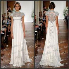 Wholesale Sheath Wedding Dresses - Buy 2014 Jewel Short Sleeve Crystals Evening Gown Rhinestone Sweep Train Ruched Chiffon Cheap Empire Sheath  Women, $183.0   DHgate
