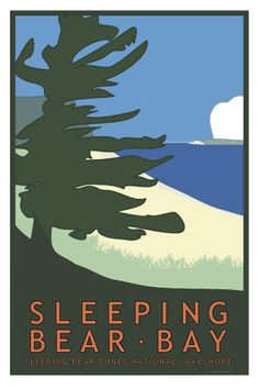Sleeping Bear Bay travel poster $40 by Glen Clark, available at Forest Gallery in Glen Arbor