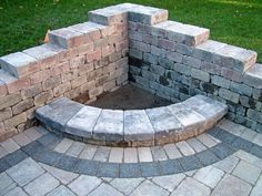Fire Pit Designs to Make Your Outdoor Decoration More Romantic : Huge Lush Green Lawn Design Ideas Combined With Unique Corner Outdoor Fire Pit Plus Bricks Hearth