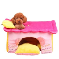Lovely Princess Pet Bed Collapsible Warm Soft House with Sofa Cushion for Small Dogs and Cats *** Click image for more details. (This is an affiliate link and I receive a commission for the sales)