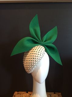 The leather emerald. Vintage emerald felt overlaid with textured leather #millinery