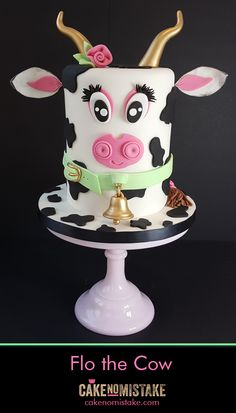 Meet Flo... the rather tall cow cake. #Tiptree #cake #baking #cow #Essex #Colchester #cakemaker #animalcake