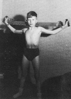 He does his exercises (even as a kid!).