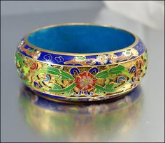 Vintage 1940s Bracelet Bangle Gold Chinese Enamel Floral Wide Jewelry