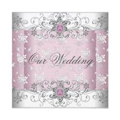Wedding Pink Silver White Diamond Jewel Lace Custom Announcements